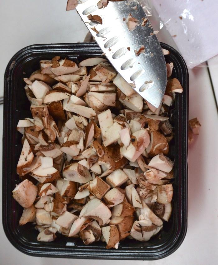 chop mushrooms in the box