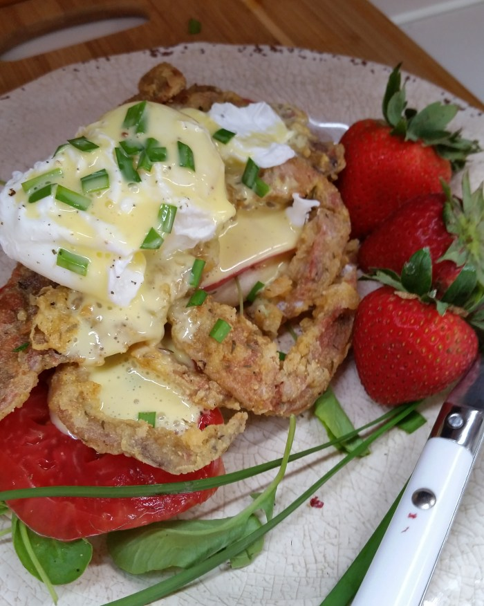 finished soft shelled crab benedict