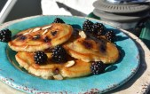 Blackberry Almond Pancakes with Almond Butter Creme