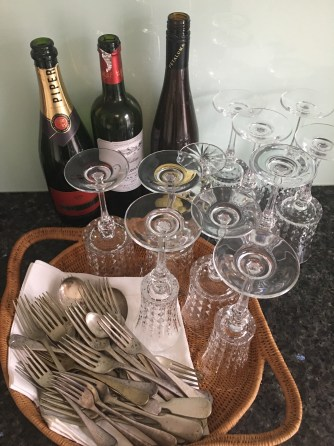 The silverware and crystal glasses come out for the occasion...