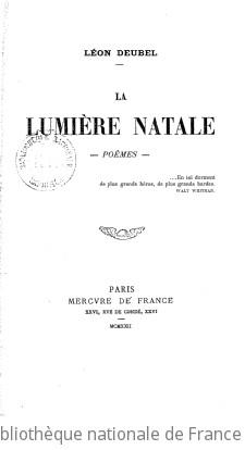La lumière natale : poèmes / Léon Deubel