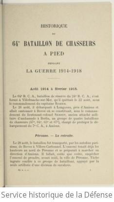 Historique du 64e bataillon de chasseurs à pied pendant la guerre 1914-1918 : honneur et patrie