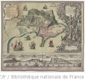 Plan très exact et vüe de la Ville, baye, et des nouvelles fortifications de Gibraltar, située sur le détroit de ce nom, tiré de l