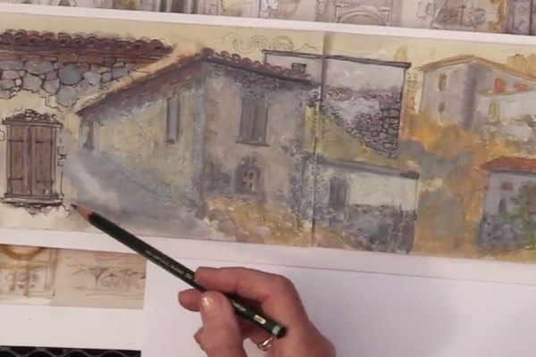 "Image of Jan Beaney drawing cityscapes in sketchbooks on location from ""Interpretations: Look, Record, Draw"""