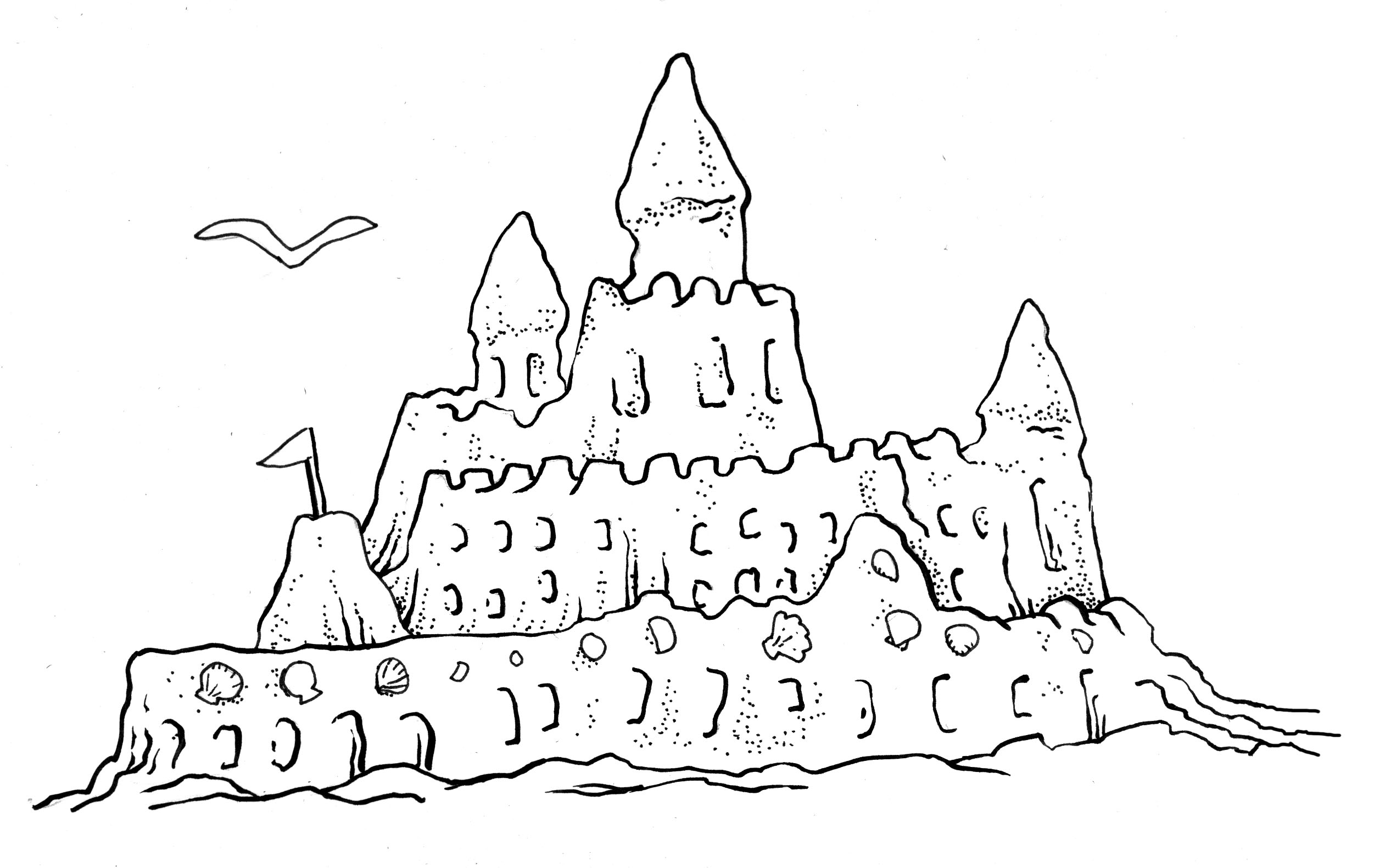 Sand Castle Clip Art Black And White Cute Coloring Page