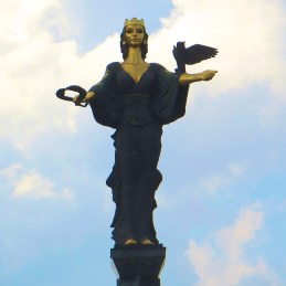 St. Sofia, the city's patron saint, standing where a statue of Lenin once stood.