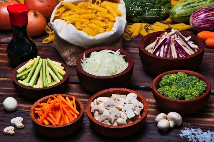 Mostacholes con vegetales