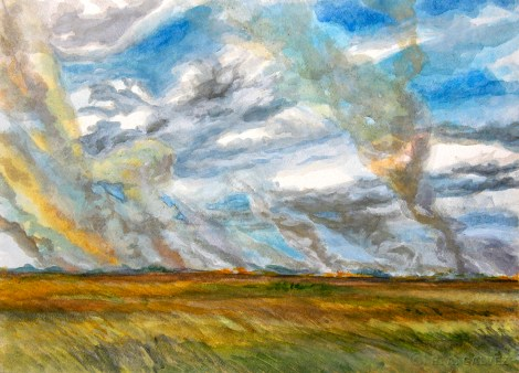 While driving towards Royal Palm during the afternoon of March 18, 2006, I noticed a fire to the north, beyond Taylor Slough. I pulled over and did this sketch from the roadside.