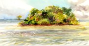 Florida Bay shallows and key near Christian Point. Watercolor Field Sketch.