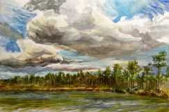 A watercolor sketch done from the southwestern edge of Pine Glades Lake, west of Long Pine Key during late afternoon, November 22, 2006.