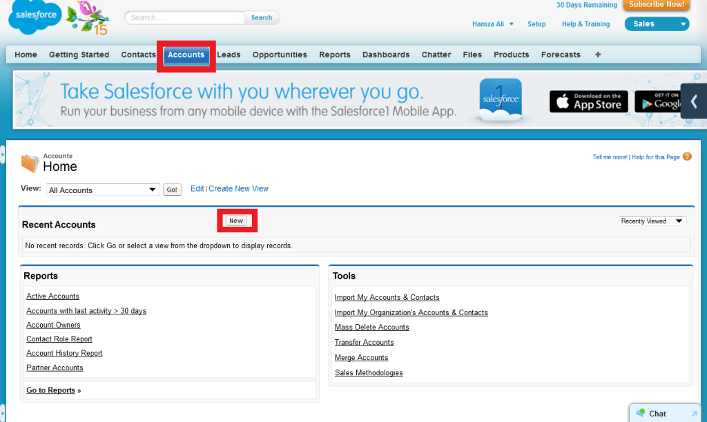 Salesforce Add Accounts