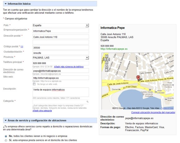 Rellenar datos empresa Google Places