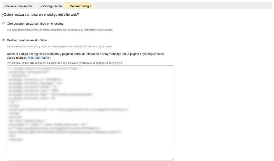 Codigo conversion Google Adwords