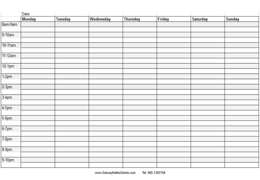 Daily Weekly Planner Template hourly schedule template new – Daily Planning Template