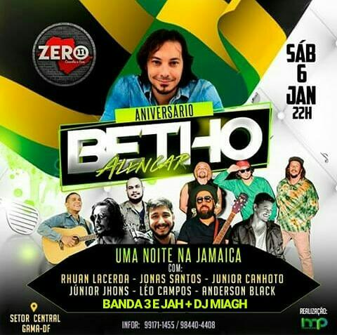"""No Zero 11 Bar """"Uma noite na Jamaica"""""""