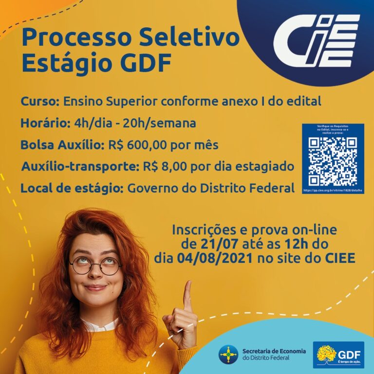 Estão abertas as inscrições para estágio no GDF