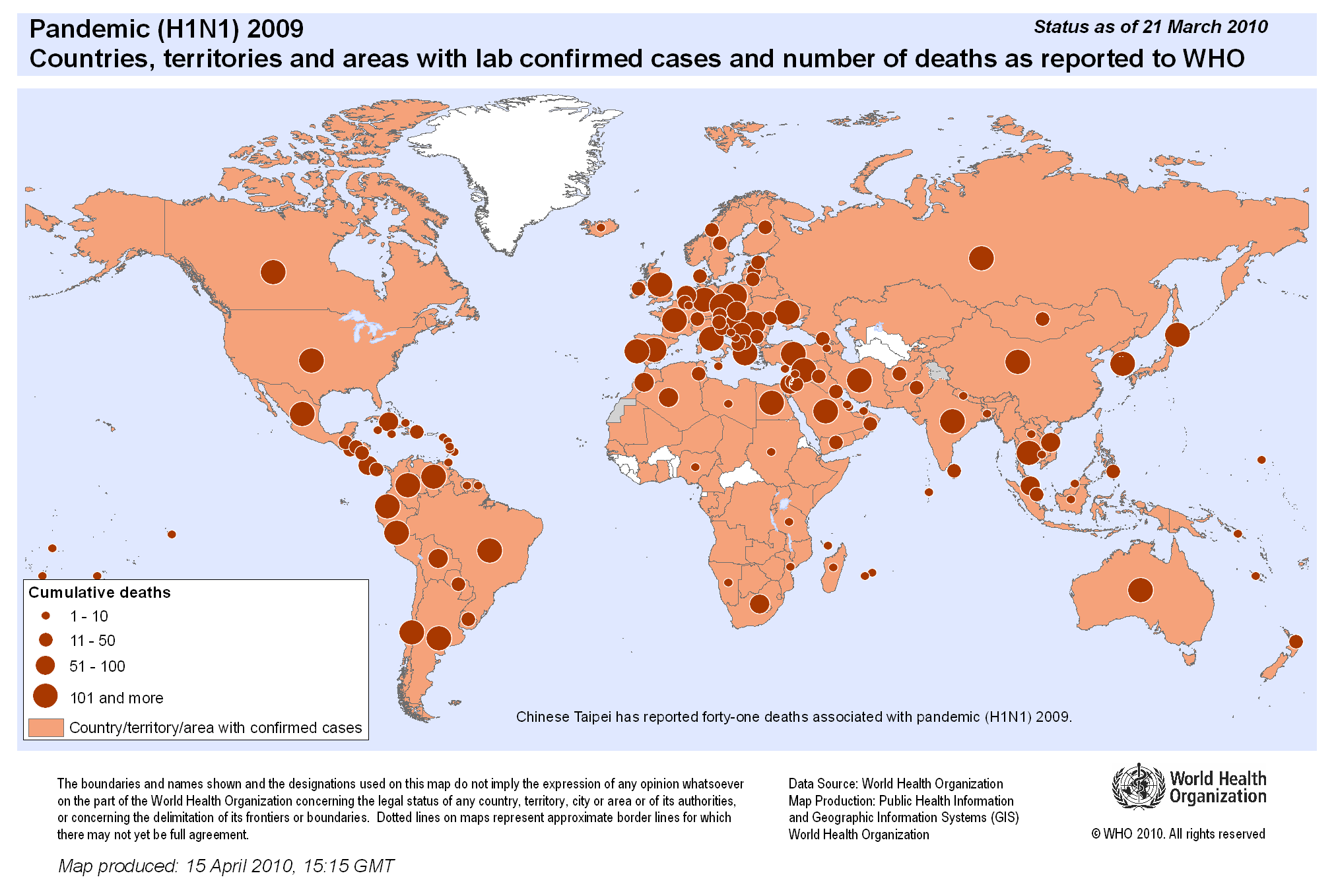 World : Pandemic (H1N1) 2009 affected countries and deaths, status as of 21-Mar-2010