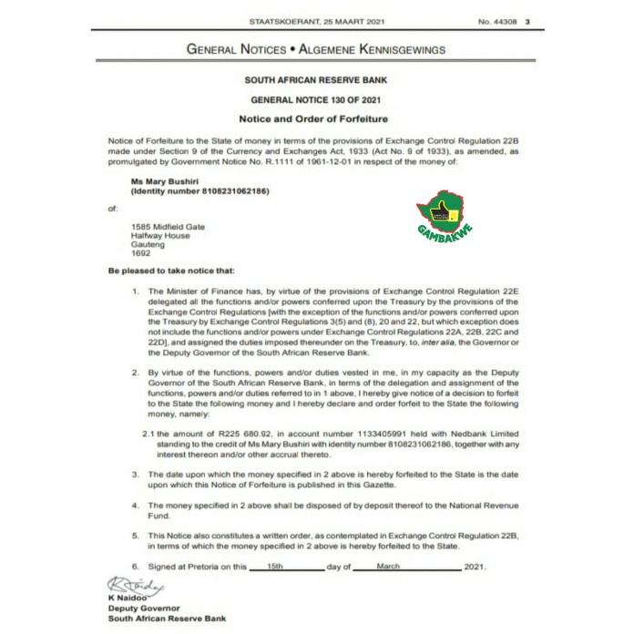 Mary Bushiri government Gazzette seizure of money from her Nedbank account