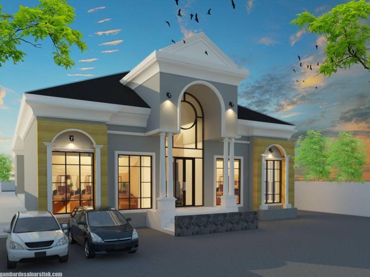 Desain Rumah Mediterania Mewah 1 Lantai (1)