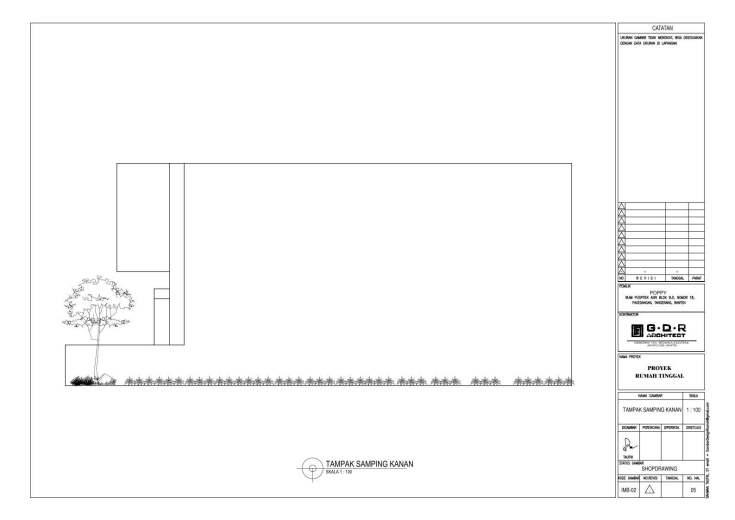 Jasa Desain Rumah Contoh Paket Gambar Kerja 05 TAMPAK SAMPING KANAN