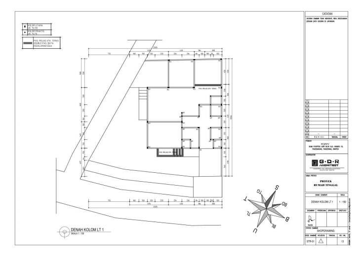 Jasa Desain Rumah Contoh Paket Gambar Kerja 13 DENAH KOLOM LT 1