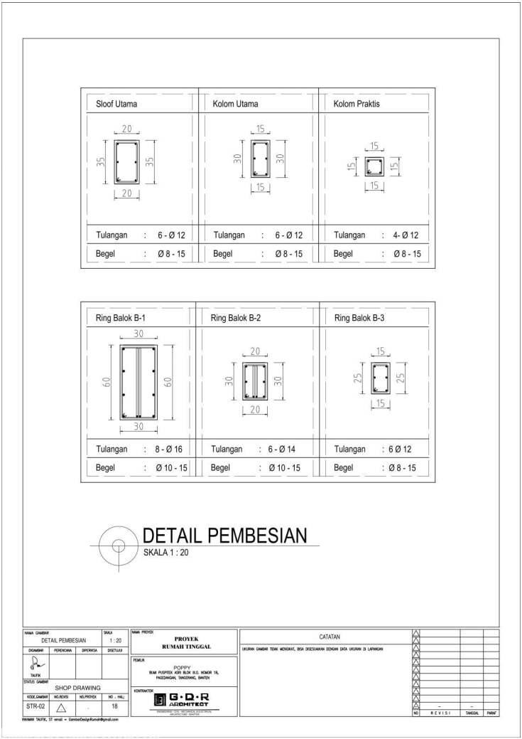 Jasa Desain Rumah Contoh Paket Gambar Kerja 18 DETAIL PEMBESIAN