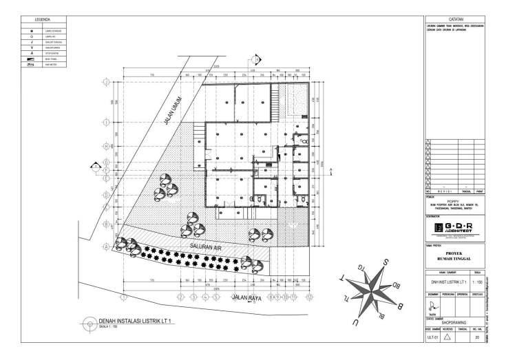 Jasa Desain Rumah Contoh Paket Gambar Kerja 20 DENAH INSTALASI LISTRIK LT 1
