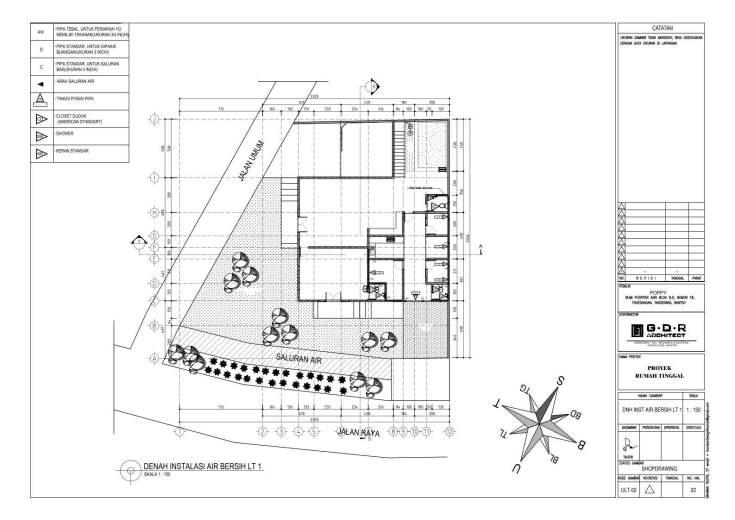 Jasa Desain Rumah Contoh Paket Gambar Kerja 22 DENAH INSTALASI AIR BERSIH LT 1