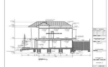 Gambar Kerja 2D Rumah 2 Lantai Tropis POTONGAN D 1