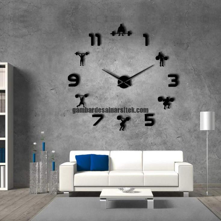 Jam Dinding Besar Raksasa Model Gym Stiker Giant Wall Huruf Angka Diameter 70 130CM 3