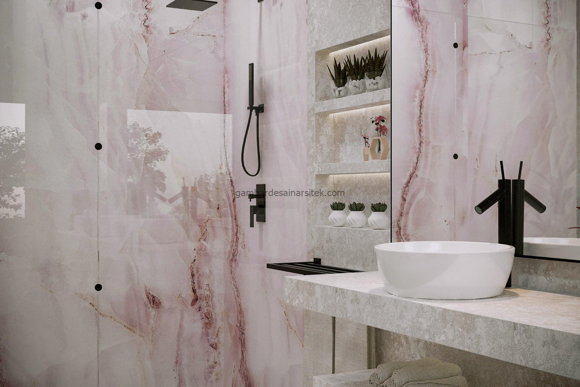 Contoh Desain Interior Rose Marble Bathroom 3D 1