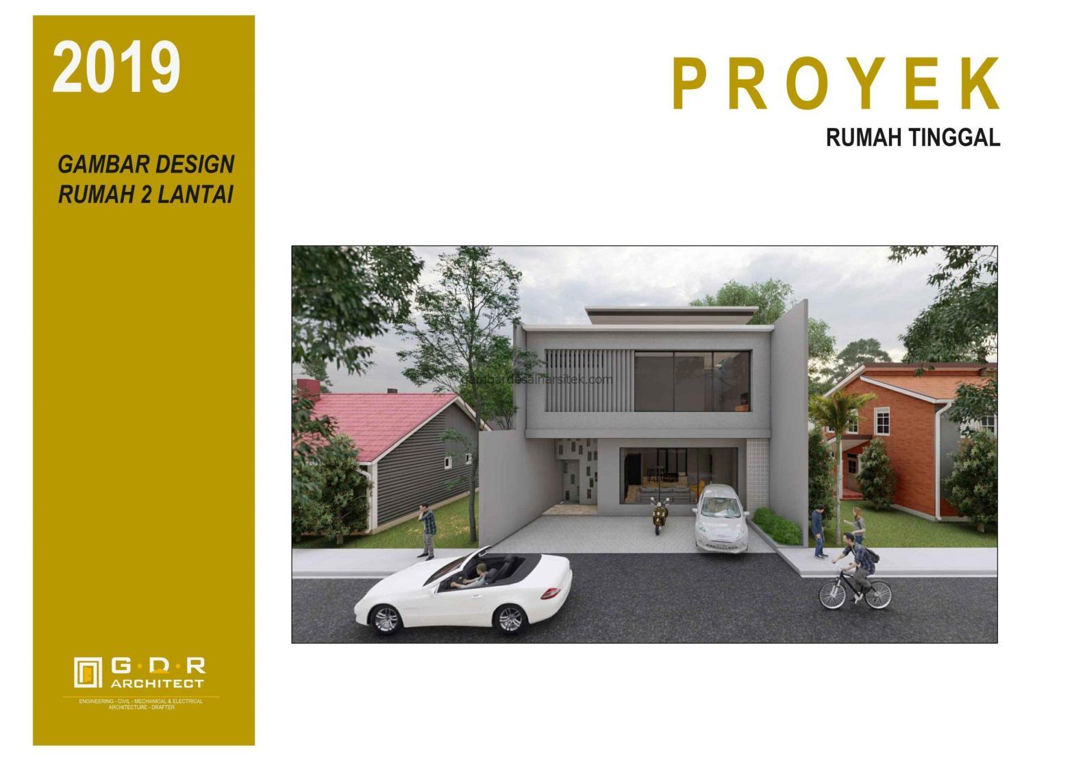 3D View Gambar Desain Rumah 2 Lantai 11x16 1
