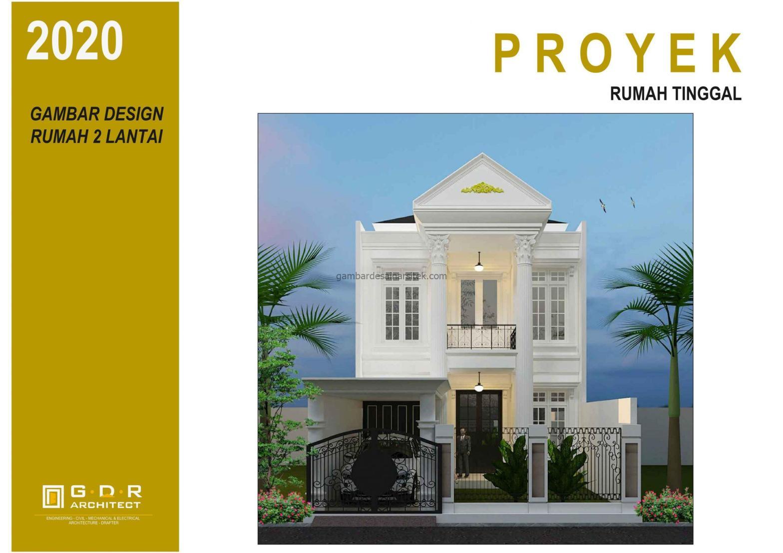 3D gambar desain rumah mewah 2 lantai 7x17 1