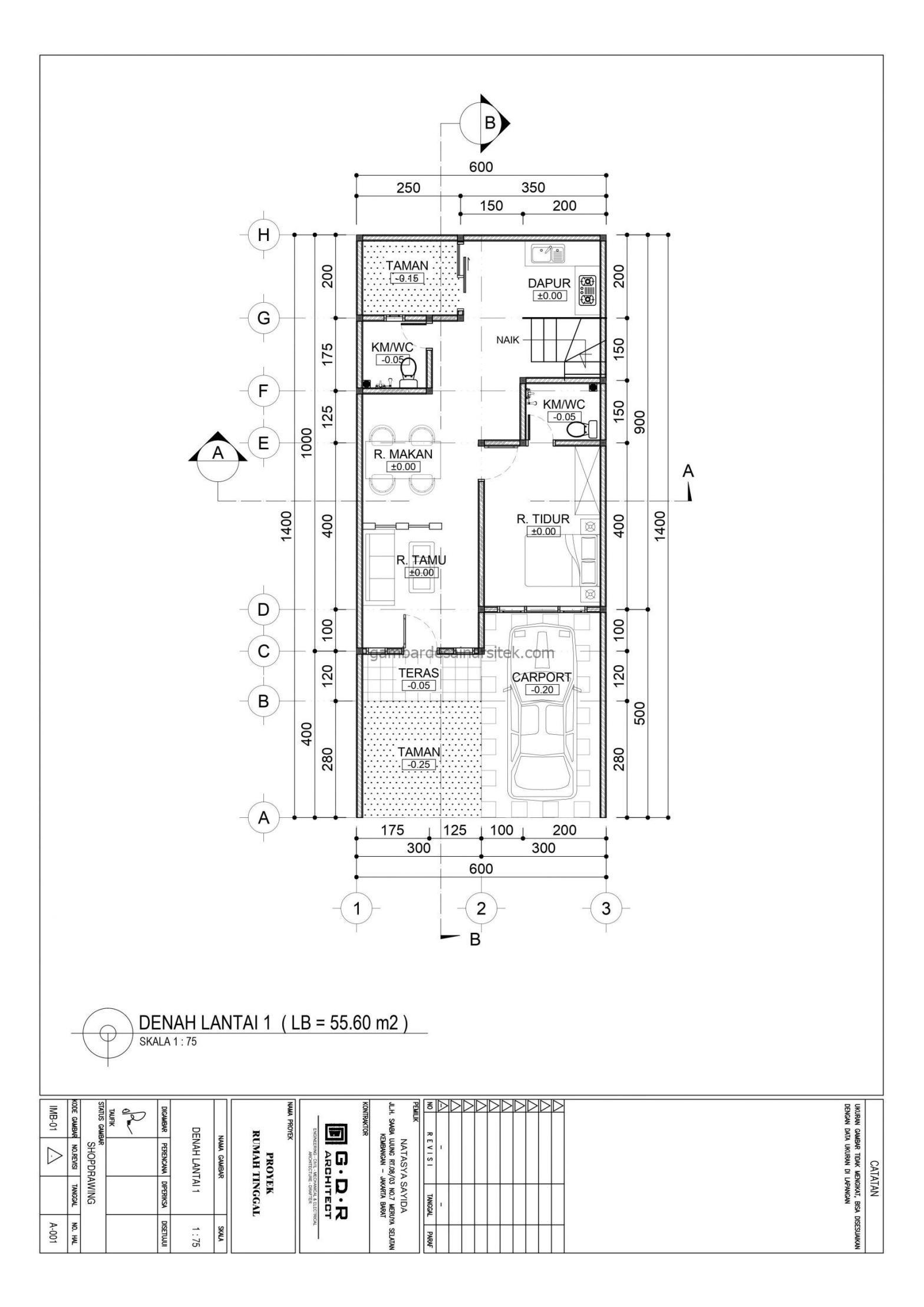 denah lantai 1 gambar desain rumah 2 lantai 6x14 3