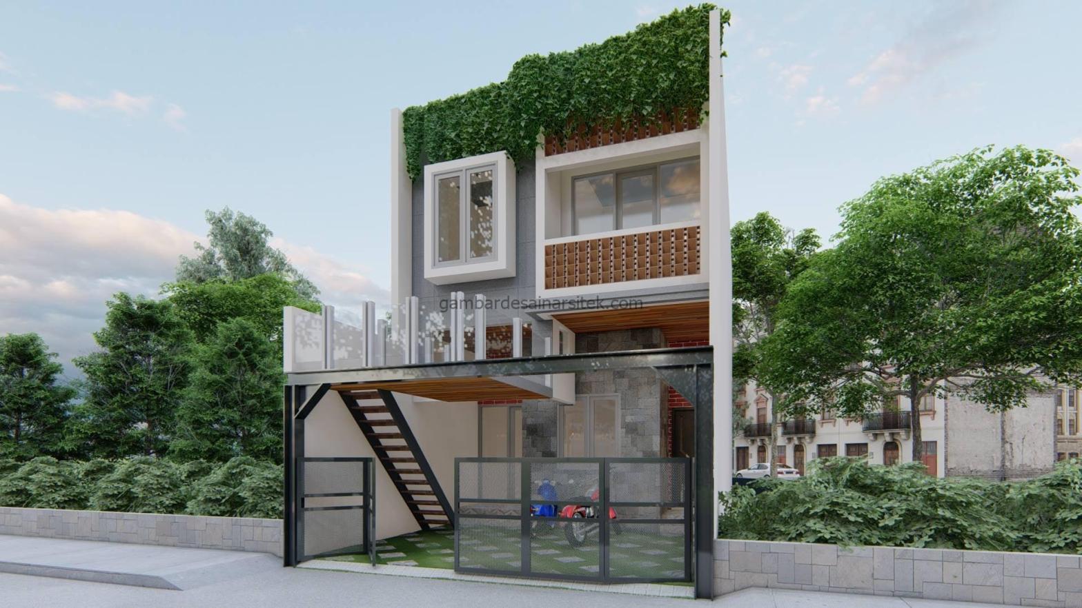 rumah minimalis 2 lantai dengan balkon mezzanine