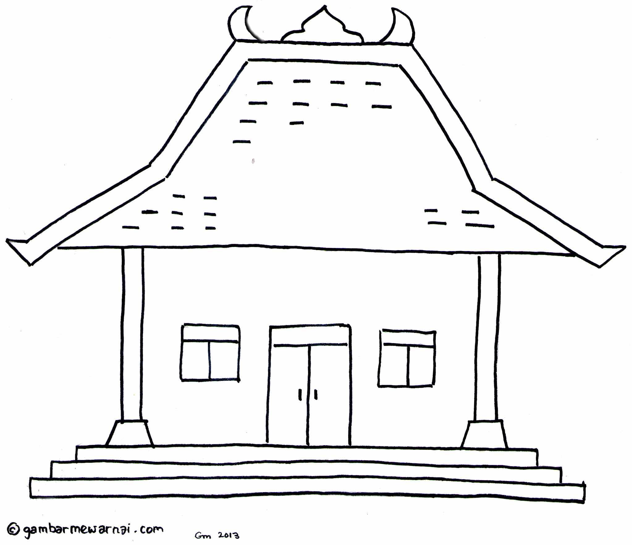 Gambar Kartun Rumah Adat Mewarnai Rumah Adat Minangkabau Gambar