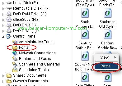 cara install atau menambah model huruf font pada komputer