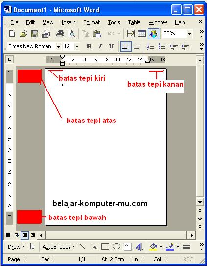 Cara mengatur tepi kertas margin setup Microsoft Word xp 2003