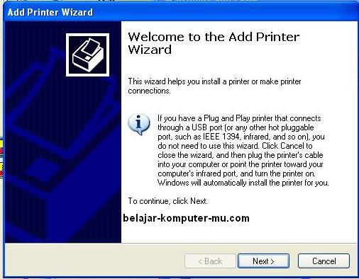 cara instal printer sharing lan jaringan windows xp
