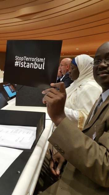 A delegate showing support to the Istanbul airport bombing