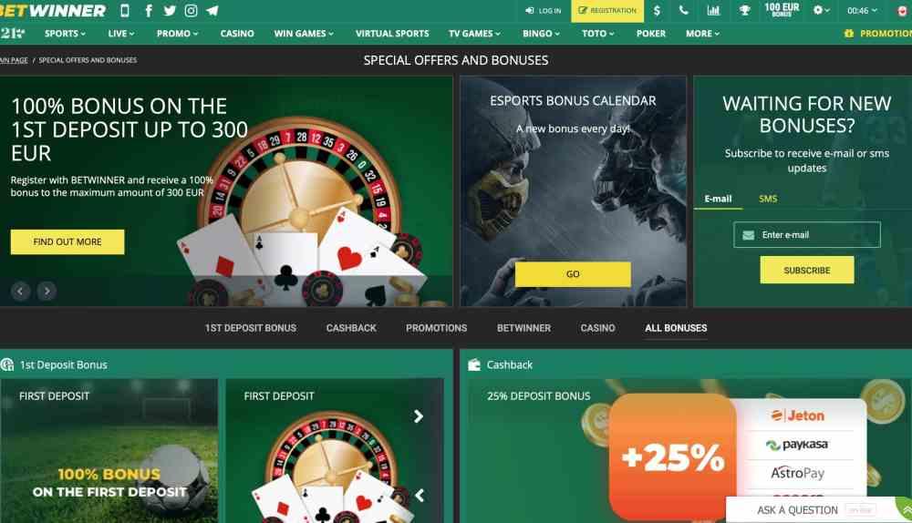 Betwinner Casino : $390 Casino Bonus + $130 Sport Bonus