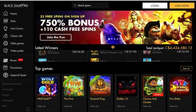 Black Diamond Casino: get exclusive 25 free spins signup bonus
