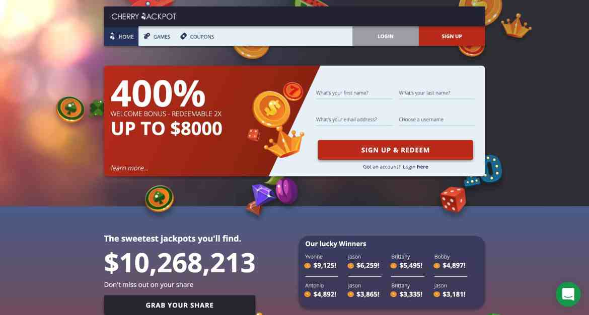 Cherry Jackpot Casino : Get 2X400% Slots Bonuses In Free Bets
