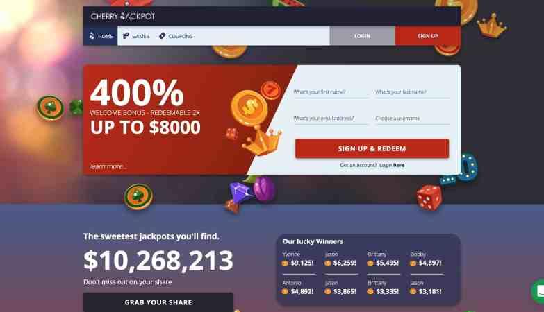 Cherry Jackpot Casino : Get 2X 400% Slots Bonuses In Free Bets