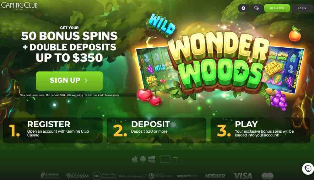 Gaming Club Casino : Get $350 Deposit Bonus + 50 Spins