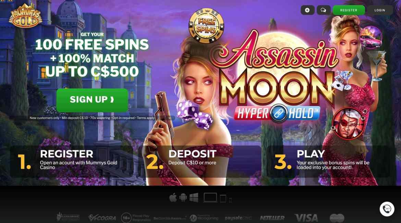 Mummys Gold Casino : Get $500 Deposit Bonus + 100 Spins