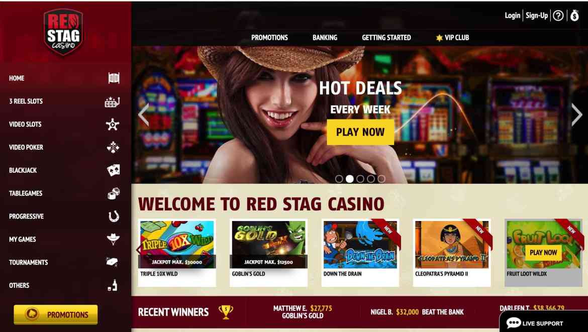 Red Stag Casino no deposit bonus : get $5 in free chips