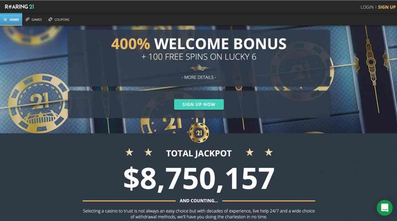 Roaring 21 Casino Deposit Bonus : $8,000 + 200 Spins