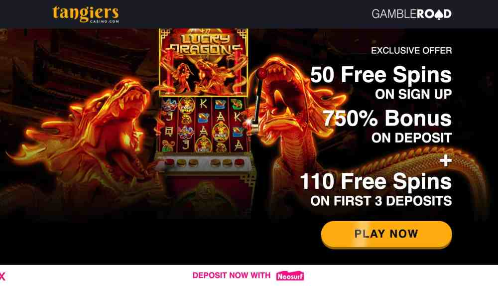 Tangiers Casino - get 750% match bonus with 160 free spins
