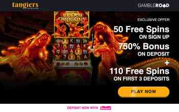 Tangiers Casino : get 50 free + 110 spins & 750% bonus on deposit
